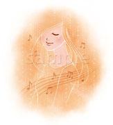 キングレコード「ほろりピアノ」ジャケットイラスト