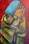 Mutter mit Kind, Ölpastell auf Papier, 35x45cm
