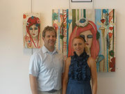 Teresa Magel and Hilliard Gallery owner Bob Swearengin at the Love is show.