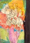 o.T. Acryl und Tusche auf Holz. 15,5 x 11cm. 2015