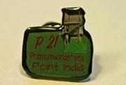 Der Ansteckpin zum P21 Point India, unterstützt Ausstattung und Pflege des Wanderwegs, kann vor Ort oder auch online, info-luederbach@t-online, bestellt werden.