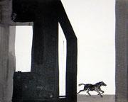 Pferdeversuch, Tusche/Papier, 2001