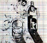 Umdrehungen, Tusche/Farbstift/Papier, 2003