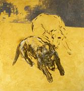 D&B, Acryl/Nessel, 90 x 100 cm, 1994