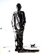 Mann und Hund, Tusche/Papier, 2001
