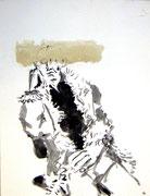 G. nach der Arbeit, Tusche/Papier, 2002