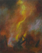 Flammen, Acryl/Pigment/Öl/Leinwand, 100 x 80 cm, 2010
