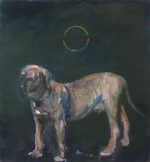 Der Köter, Öl/Nessel, 100 x 90 cm, 1999