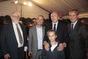 Gérard COLLOMB et sa fille, entoutré de Mgr Jean-Paul VESCO, éveque d'Oran et son frère Gilles VESCO, adjoint à la ville de Lyon - Lyon - 08 09 2013  - Photo © Anik COUBLE