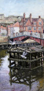 Seagulls rest, swing bridge, Whitby