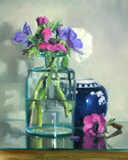 Anemones in Glass Jar