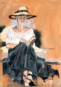 Girl in Hat, Reading