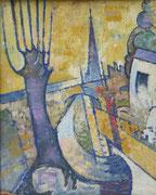 Paysage breton (huile sur bois, 40 x 50 cm, coll. part. MR) peinte recto verso avec portrait façon Matisse