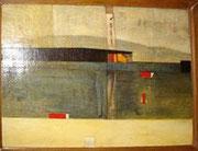 Le phare, 1959, (huile, 54 x 73 cm, Fonds National d'art contemporain, dépôt auprès du Conseil Constitutionnel.)