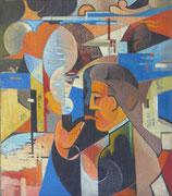 """Fumeur à la pipe, 1957 (huile sur toile, 51 x 58 cm, coll. part. MR) recto verso avec """"La conquête de l'air"""""""
