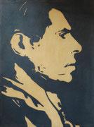 Durruti anthropométrique (diptyque1), 1975 (black marin sur toile, 148 x 103 cm, coll. part. GR)