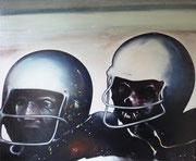 Les footballeurs américains ou Les Mickeys (huile sur toile, 172 x 144 cm, coll. part. GR)