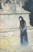 La dame noire, env. 1950, (huile, coll.part.)