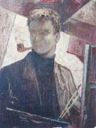 Autoportrait à la pipe, 1950 (huile sur isorel, 49 x 64 cm, coll. part. MR)