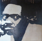 Diptyque sur le racisme, tête de Lumumba, 1975 (black marin sur toile, 148 x 148 cm, coll. part. GR.)