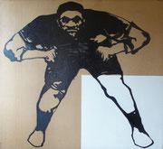 Diptyque sur le racisme, joueur de football américain, 1975 (black marin sur toile, 148 x 148 cm, coll. part. GR.)