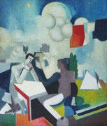 """La conquête de l'air, d'après Roger de La Fresnaye, 1957 (huile sur toile, 51 x 58 cm, coll. part. MR) recto verso avec """"Fumeur à la pipe"""""""
