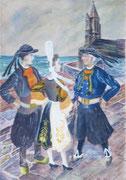 Bretons en costumes,  ND de la joie Penmarc'h, 1947 (gouache, 27 x 38 cm, coll. part. MR)