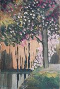 Arbre en fleurs, env. 1950 (gouache, 21 x 14 cm, coll. part. MR)