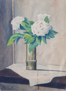 Fleurs blanches, env. 1948 (gouache, 38 x 28 cm, coll. part. MR)