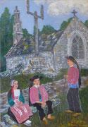 Petits Bretons au calvaire, 1947 (gouache, 37 x 26 cm, coll. part. MR)