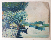 Canal de Nantes à Brest, 1951, (huile sur calendrier des postes, 24 X 18 cm, coll. part. MR)