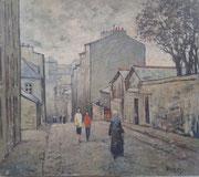 Brest, rue Vauban, 1952 (huile sur toile marouflée sur contreplaqué, 51 x 58 cm, coll. part. TP)