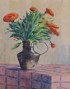 Fleurs oranges, env. 1948 (gouache, 32.5 x 25 cm, coll. part. MR)