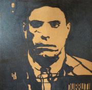 Durruti anthropométrique (diptyque 2), 1975 (black marin sur toile, 148 x 147 cm, coll. part. GR)