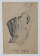 Etude de main gauche, 1948 (dessin, 20 x 13 cm, coll. part. MR)