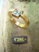 Bild:Ring,Gelbgold750,Weissgold750,18kt,Turmalin,carré,blaugrün,Unikat