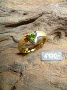 Bild:Ring,Weissgold750,Gelbgold750,Turmalin,Unikat