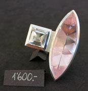 Bild:Ring,Silber925,Rosa Quarz,Bergkristall,Handarbeit
