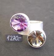 Bild:Ring,Silber925,Amethyst,Rauchquarz,Bufftop,Schliff,Handarbeit,Unikat
