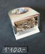 Bild:Ring,Silber925,Rauchquarz,Naturstruktur,Spiegelschliff,Handarbeit,Unikat