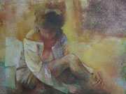 Donna - olio su tela dimensione 40 x 50 (tecnica murale)