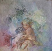 Bimbo e cane - olio su tela dimensione 45 x 45