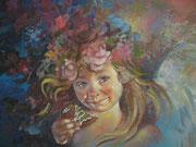Bambina con biscotto - olio su tela dimensione 40 x 50