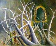 Visita Nocturna (Mundos Paralelos) - Oleo 50x60 (2004) - Daniel Dankh