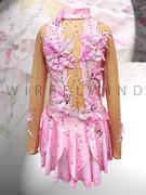 Süßes Kürkleid in rosa für kleine Eisprinzessinnen, mit Blüten und Ranken, Perlen und Strasssteinen, Rock doppelt in Blätteroptik / Vorderansicht / Gr. 128