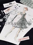 Skizze zu Kürkleid mit Perlen
