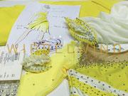 Skizze zum Kürkleid für Eiskunstlauf in Gelbtönen