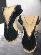 Elegantes Kürkleid aus dunkelgrauem Samt mit Marabufedern und Spiegelpailletten /Vorder- und Rückenansicht/ Gr. XS