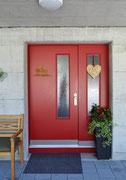 Haustüre gestrichen RAL3003 mit Glaseinsätzen