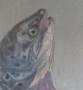 Maria Vogl, Fisch Grau, 103x113, Acryl auf Leinwand